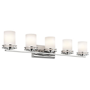 Hendrik Chrome Five Light Wall Bath Bar