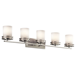 Hendrik Brushed Nickel Five Light Wall Bath Bar