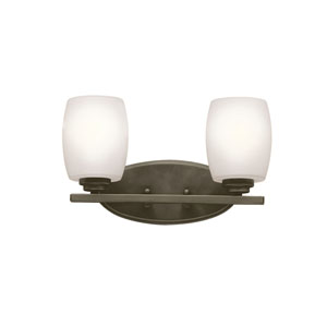 Eileen Olde Bronze Two-Light Bath Sconce with Satin Etched Glass