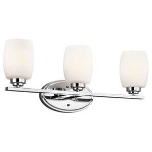 Eileen Chrome Three-Light Wall Mounted Bath Fixture