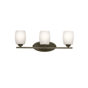 Eileen Olde Bronze Three-Light Bath Sconce with Satin Etched Glass