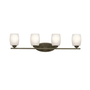Eileen Olde Bronze Four-Light Bath Sconce with Satin Etched Glass