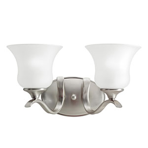 Wedgeport Brushed Nickel 15-Inch Energy Star Two-Arm Bath Light