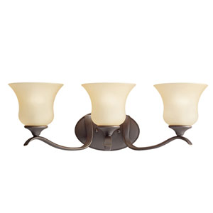 Wedgeport Olde Bronze 23-Inch Energy Star Three-Arm Bath Light