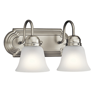 Brushed Nickel 12-Inch Two-Light Bath Light