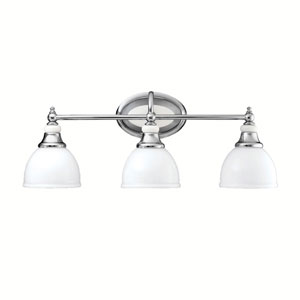 Pocelona Chrome Three-Light Bath Fixture