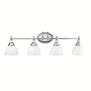 Pocelona Chrome and Porcelain Four-Light Bath Fixture