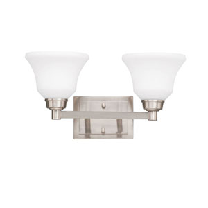 Langford Two-Light Brushed Nickel Bath Fixture