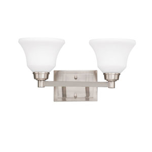Langford Brushed Nickel 18-Inch Energy Star Two-Arm Bath Light