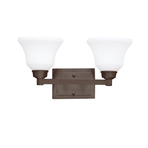 Langford Olde Bronze Two Arm Light for Bath Fixture Wall Mount