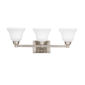 Langford Three-Light Brushed Nickel Bath Fixture