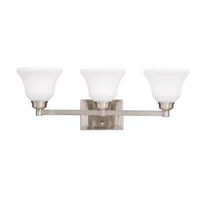 Langford Brushed Nickel 26-Inch Energy Star Three-Arm Bath Light