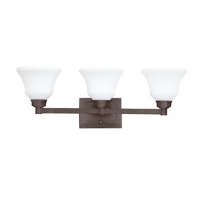 Langford Olde Bronze Three Light Bath Fixture Wall Mount with Etched White Glass