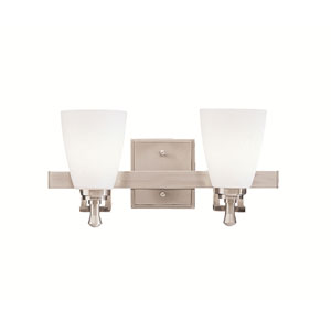 Uptown Brushed Nickel Two-Light Bath Fixture