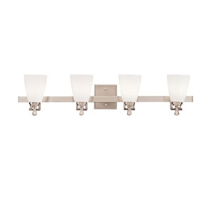 Uptown Brushed Nickel Four-Light Bath Fixture
