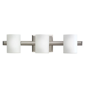 Tubes Brushed Nickel Halogen Three-Light Bath Fixture