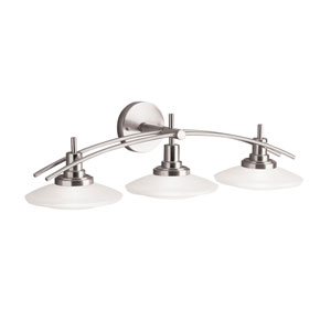 Brushed Nickel Three-Light Bath Fixture