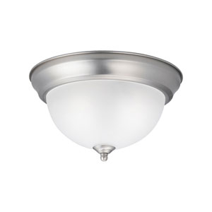 Two-Light 11.25-Inch Brushed Nickel Flush Mount