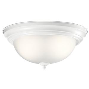 White 13-Inch Two-Light Flush Mount