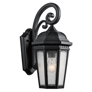 Courtyard Textured Black One-Light Eight-Inch Outdoor Wall Sconce