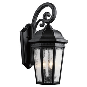 Courtyard Textured Black Three-Light 10-Inch Outdoor Wall Sconce