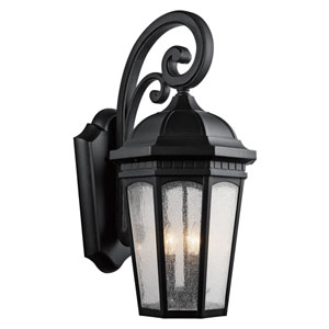 Courtyard Textured Black Three-Light 12-Inch Outdoor Wall Sconce