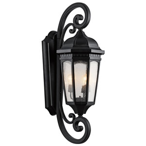 Courtyard Textured Black Three-Light 13-Inch Outdoor Wall Sconce