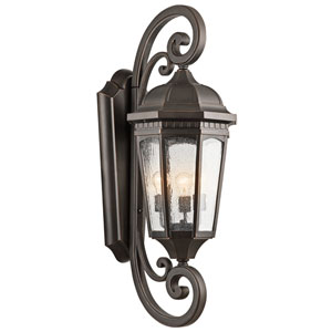 Courtyard Rubbed Bronze Three-Light Outdoor Wall Sconce