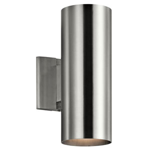 Brushed Aluminum 5-Inch Two-Light Outdoor Wall Mount