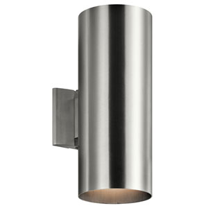 Brushed Aluminum 6-Inch Two-Light Outdoor Wall Mount