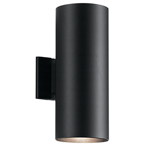 Black 6-Inch Two-Light Medium Outdoor Wall Light