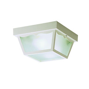 White Polypropylene Outdoor Flush-Mount Light