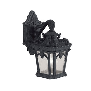 Tournai One-Light Textured Black Square Outdoor Wall Lantern