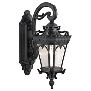 Tournai One-Light Textured Black Outdoor Wall Lantern