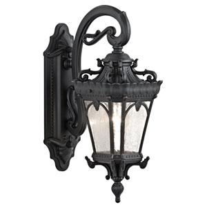 Tournai One-Light Textured Black Outdoor Wall Lantern