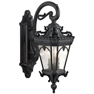 Tournai Two-Light Textured Black Outdoor Wall Lantern