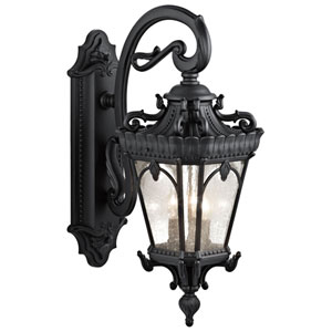 Tournai Three-Light Textured Black Outdoor Wall Lantern