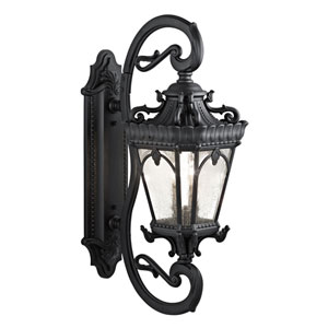 Tournai Four-Light Textured Black Outdoor Wall Lantern