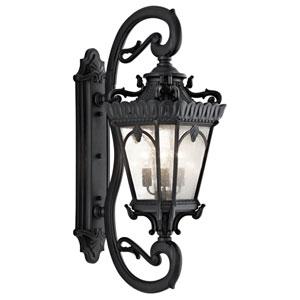Tournai Four-Light Textured Black Large Outdoor Wall Lantern