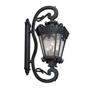 Tournai Five-Light Textured Black Outdoor Wall Lantern