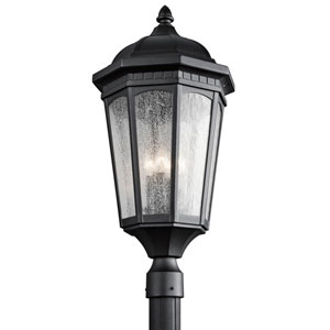 Courtyard Three-Light Textured Black Outdoor Post Mount