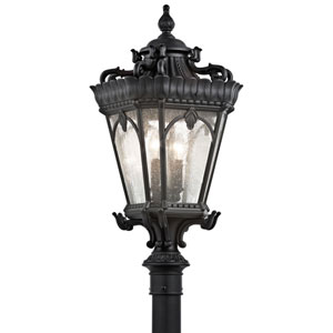Tournai Four-Light Textured Black Outdoor Post Mount