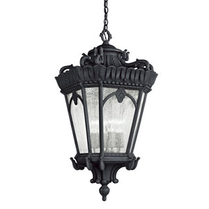 Tournai Four-Light Textured Black Outdoor Hanging Pendant