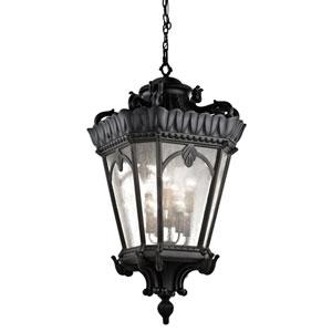 Tournai Eight-Light Textured Black Outdoor Hanging Pendant
