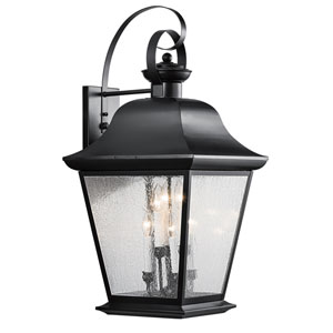 Mount Vernon Black Six Light Xtra Large Outdoor Wall Lantern with  Clear Seedy Glass