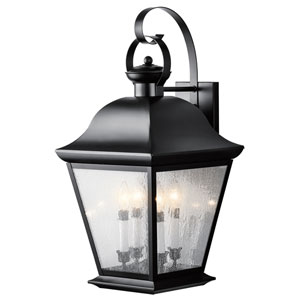 Mount Vernon Black Four Light 13-Inch Outdoor Wall Lantern with Clear Seedy Glass