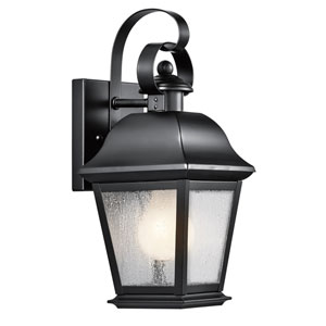 Mount Vernon Black One Light Small Outdoor Wall Lantern with Clear Seedy Glass