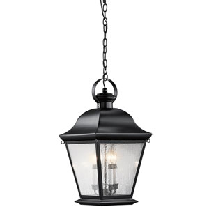 Mount Vernon Black Four Light Outdoor Hanging Pendant with Clear Seedy Glass