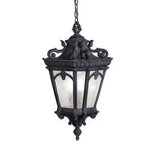Tournai Three-Light Textured Black Outdoor Hanging Pendant