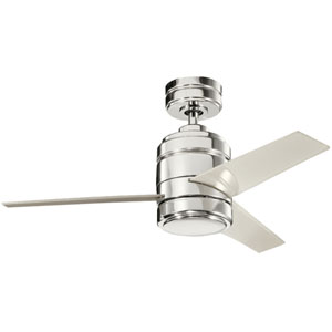 Arkwright Polished Nickel 38-Inch Ceiling Fan with Light